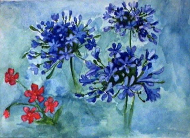 Цветы, художник Анна Журавлёва, 1990, акварель
