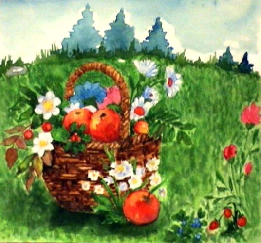 Дары природы, художник Анна Журавлёва, 1990, акварель