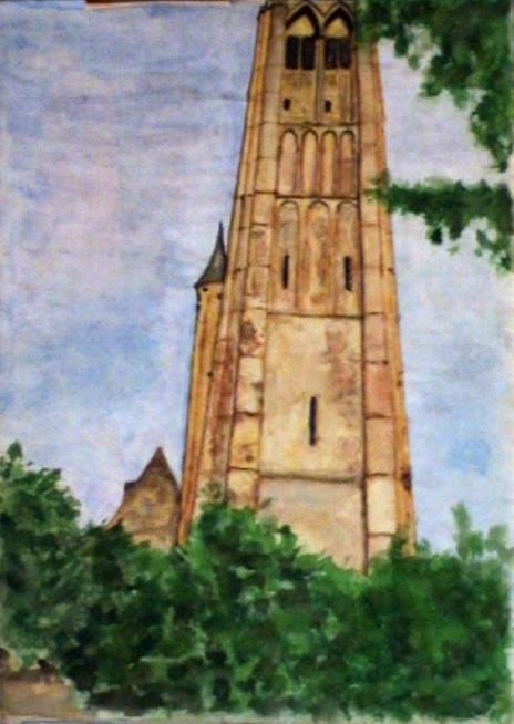 Башня, художник Анна Журавлёва, 1990, акварель