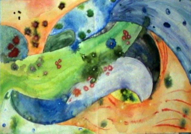 Переменчивое настроение, художник Анна Журавлёва, 1990, акварель