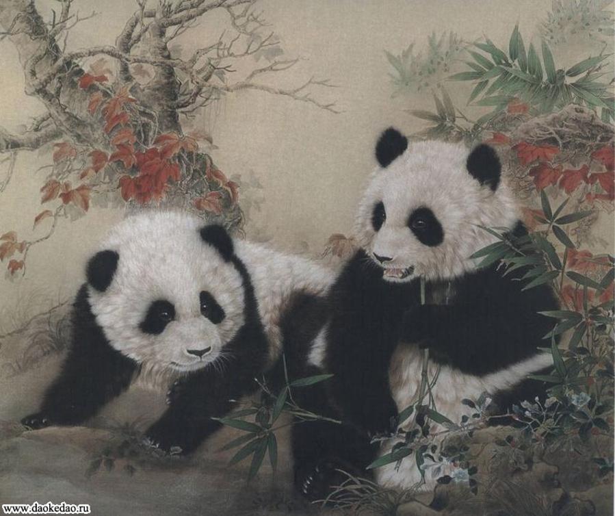 Панды - любимые персонажи художника Ло Жэньлинь (罗仁琳)