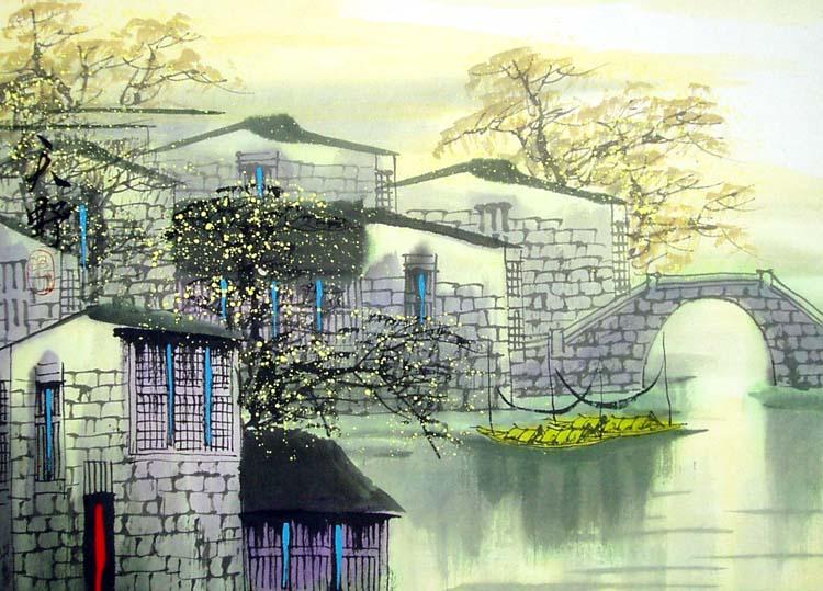 Тиан Вы - автор пейзажей в традиционной китайской технике гохуа